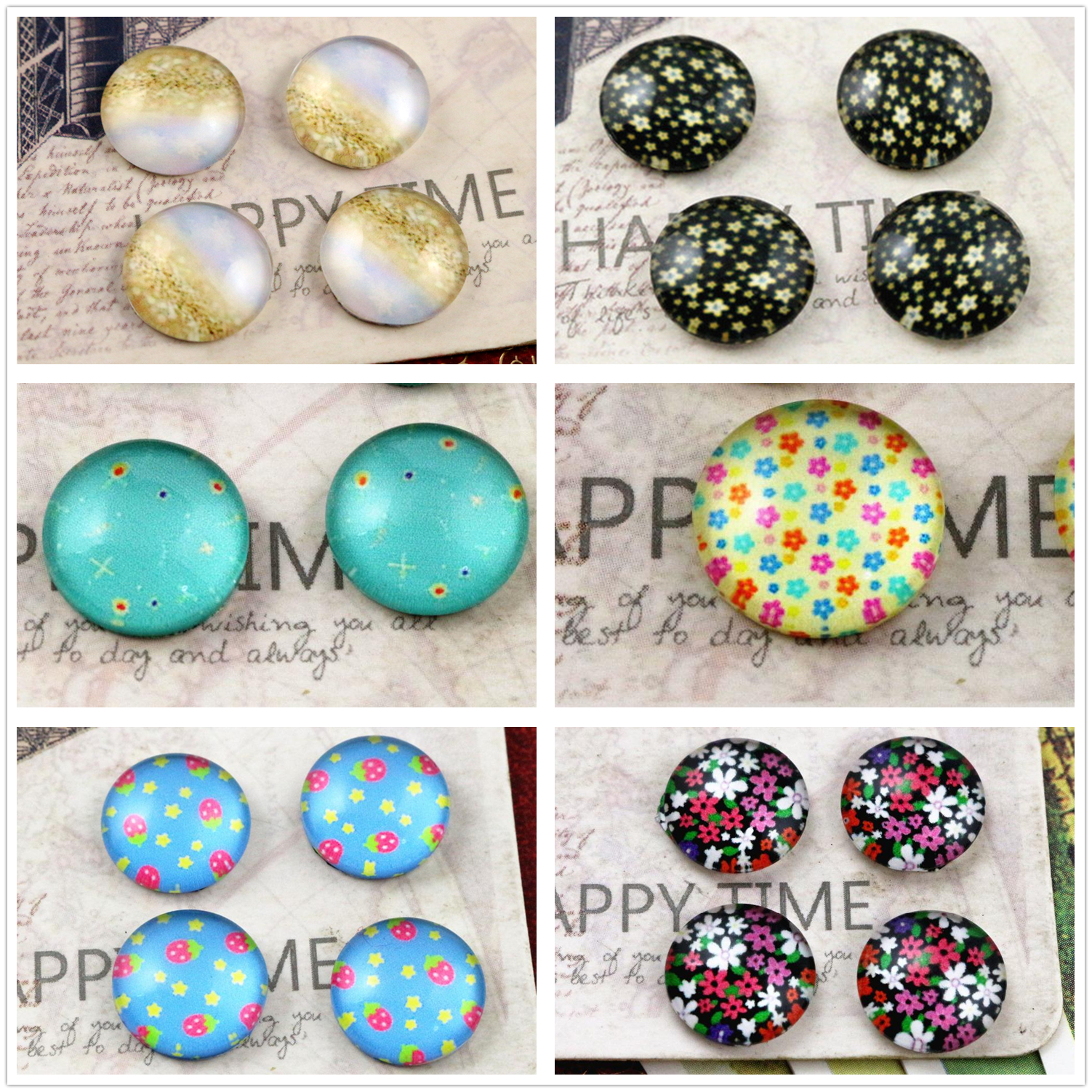 Hot Sale 20pcs/Lot 12mm Popular Flower Style Handmade Glass Cabochons Pattern Domed Jewelry Accessories Supplies