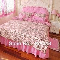 Бесплатная Доставка! люкс 3/4 шт. розовый leopard постельных принадлежностей твин/полный/королева размер принцесса постельное белье без наполни...