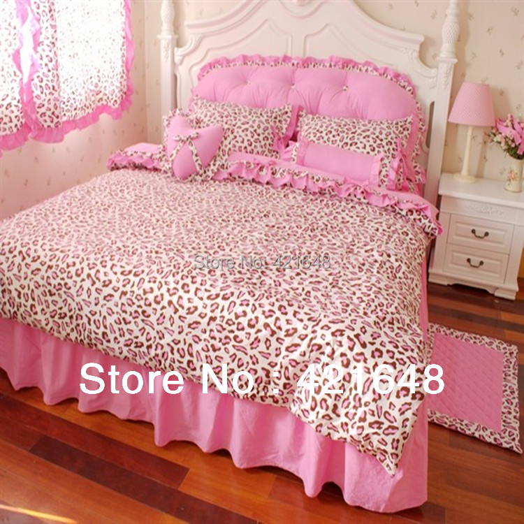 Free Shipping! Luxury 3/4pcs pink leopard bedding set twin/full/queen size princess bedclothes without filler
