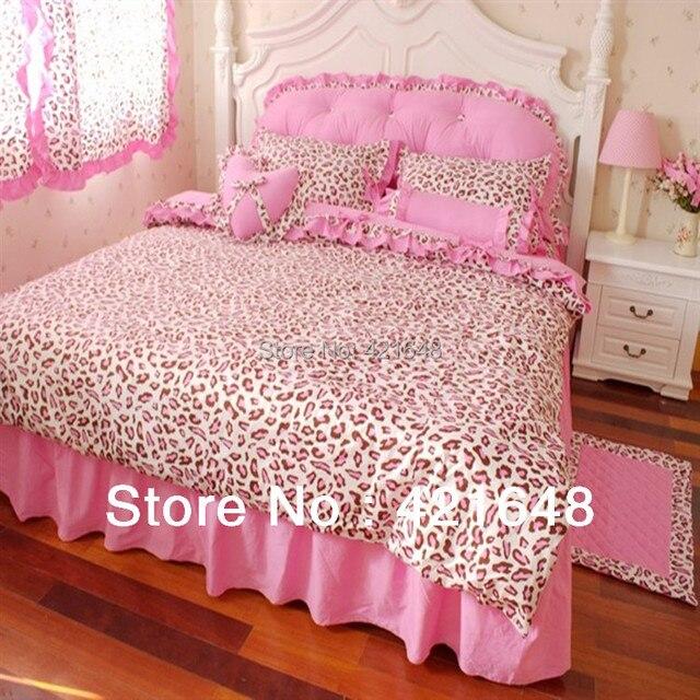 Luxury 3/4pcs Pink Leopard Bedding Set Twin/full/queen