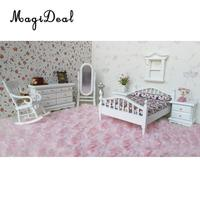 MagiDeal Cute 1:12 Dollhouse Miniature White Wooden European Retro Bedroom Furniture Set for Kids Playing House Game Toy Gift
