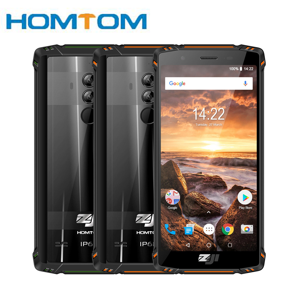 HOMTOM ZJI ZOJI Z9 Helio P23 IP68 étanche 4G LTE Smartphone Octa Core 5.7 pouces 6GB RAM 64GB ROM 5500mAh bandes complètes Mobile Pho