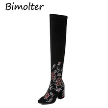 Bimolter New Women Luxury Ethnic Embroidery Flower Over the Knee Boots Winter Warm Elegant High Heel Big Size33-43 PAEB036