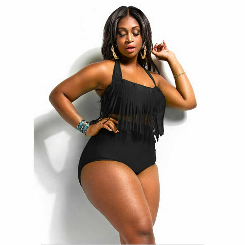 0107a69100 Brazilian Bikini Sexy Ladies Women Black Plus Size High Waisted Bikini  Tankini Tassels Bottom Swim Briefs