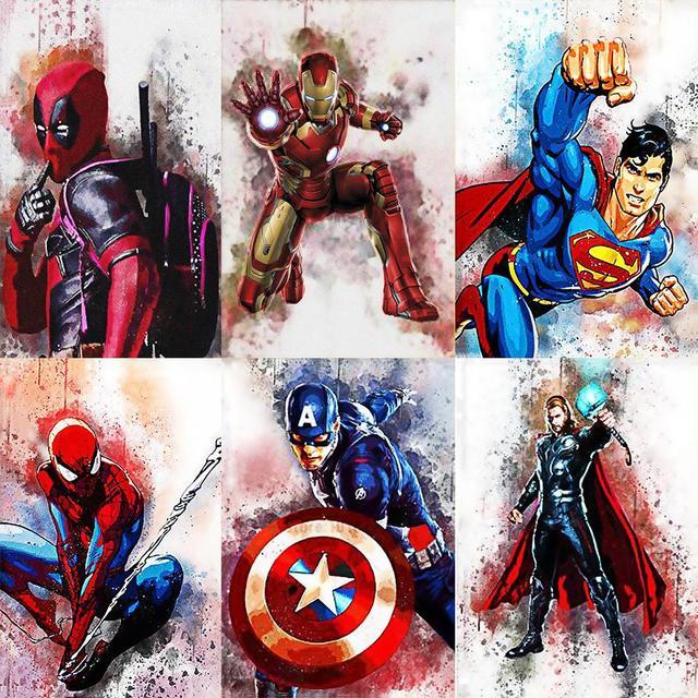 Diamante Mosaico 5D Spiderman Capitão América do Ponto da Cruz Pintura Diamante DIY Praça Cheia de Diamantes Bordados Decoração Pintura