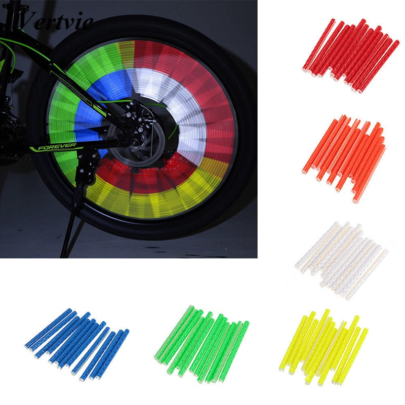 Vertvie 12/24PCS Bicycle Bike Light Wheel Spokes Reflective Sticks Tube Safe Clip Decoration Light 75mm
