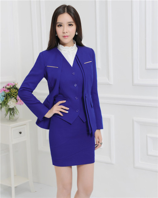 b5bc32bb638 Formal Professional Autumn And Winter Business Suits With Jackets + Skirt +  Vest Ladies Blazers Outfits