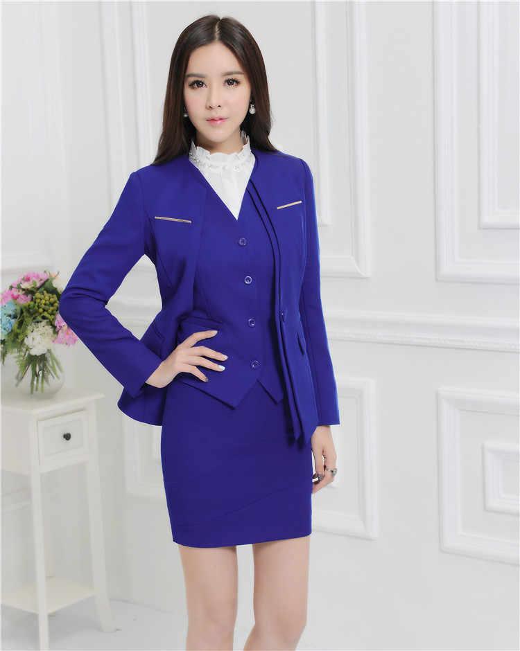 870bdc7086f Формальные Professional осень и зима бизнес костюмы с куртки + юбка жилет  дамы блейзеры комплект OL