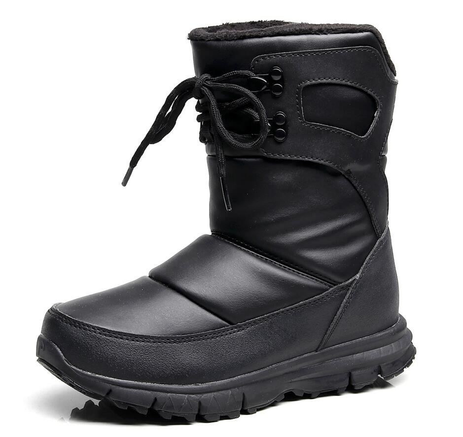 Winter Children & Adult Snow Boots With Thick Plush Waterproof Non-slip Shoes Hot Warm For Big Boys And Girls Men Women thick men s work boots men lace up leather waterproof shoes unisex with short plush winter outdoor men s velvet warm snow boots
