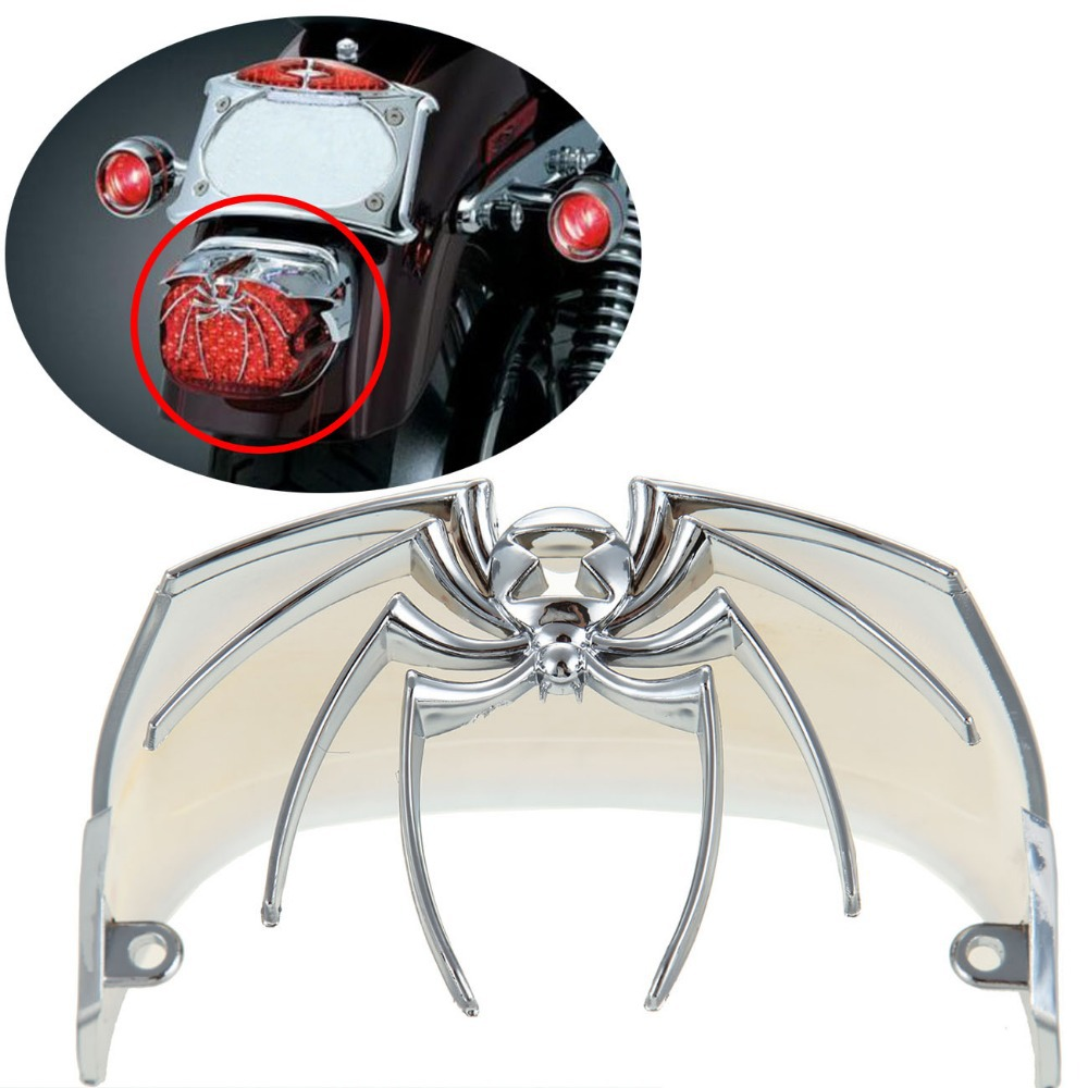 Motorcycle Chrome Spider Rear Tail Light Cover For Harley Dyna Electra Glide FLH
