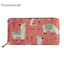 ELVISWORDS Wallets&Purse Women Cute Alpacos Printed Cash Wallet Ladies Luxury Design Phone Holders for Females Clutch Coin Purse