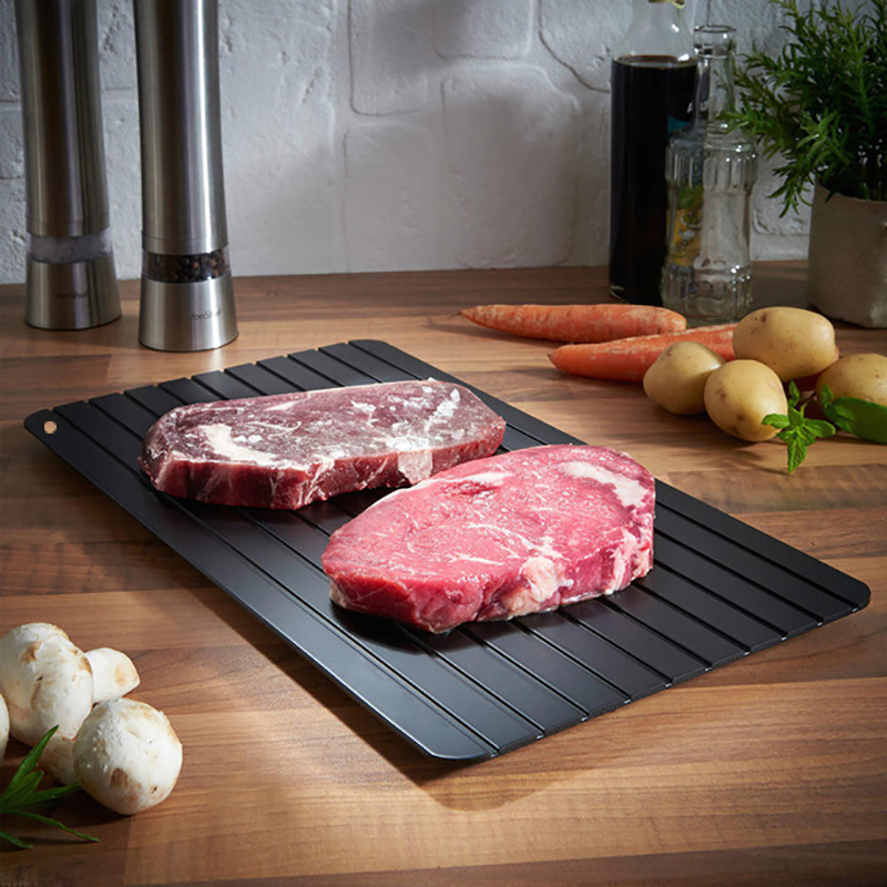 3 Size Practical Fast Defrosting Tray Thaw Rectangle Frozen Food Meat Fruit Quick Defrost Plate Board Kitchen Gadget Tool Pads