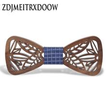 New Arrival Hollow Wood Bow Ties for Mens Wedding Suits Wooden Bow Tie Butterfly Shape Bowknots Gravatas Slim Cravat