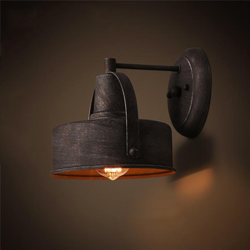 retro industriel en fer forge appliques dia 21 cm metal abat jour e27 edison ampoule vintage applique murale lampe pour restaurant escalier
