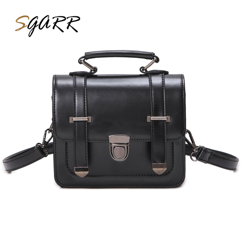 SGARR Famous Brand Vintage Leather Women Shoulder Bag Solid Brown Wine Red Green Female School Girls Pu Crossbody Messenger Bags sgarr famous brand women messenger bag pu leather small purse fashion pink grey color female crossbody shoulder bags party bags