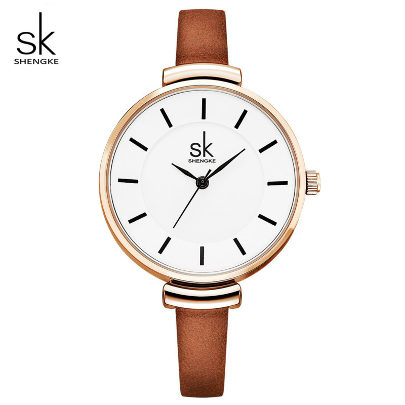 Shengke Brand Fashion Women Leather Wrist Watch Luxury Quartz Clock Female Watch Relogio Feminino 2018 SK Ladies Watches #K0010 fashion sunglasses women diamond luxury brand design sun glasses female mirrored lens oculos de sol feminino