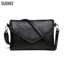 Suoai 2015新しい小さなバッグファッションメッセンジャーバッグ用女性ソフトpuレザークロスボディバッグ女性クラッチパーティーバッグドル価格
