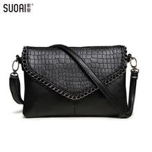 SUOAI 2015 Νέα Μικρή τσάντα Messenger τσάντες μόδας για τις γυναίκες Soft Pu δέρματος Crossbody τσάντα Γυναικεία συμπλέκτες Κόμμα τσάντα Δολάριο Τιμή