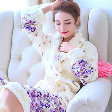 Women s Velvet Kimono Bathrobes Coral Soft Warm Turn Down Collar Print Long Sleeve Female Robe