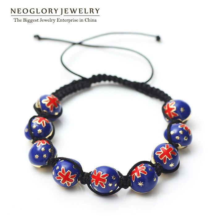Neoglory Zinc Alloy Light Yellow Gold Color Stoving Varnish Australia Flag Bangles & Bracelets for Women Men Sporty Jewelry CLE