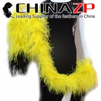 CHINAZP New Arrival Party Feather Boa 8ply Dobld Color Tip Black Red and Yellow Fluffy Thick Ostrich Feather Boa Wholesale