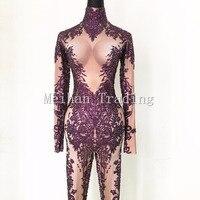 Горячая мода сексуальный фиолетовый боди Стразы Комбинезоны Одежда для ночного клуба, для танцев длинный рукав комбинезон Женская праздни