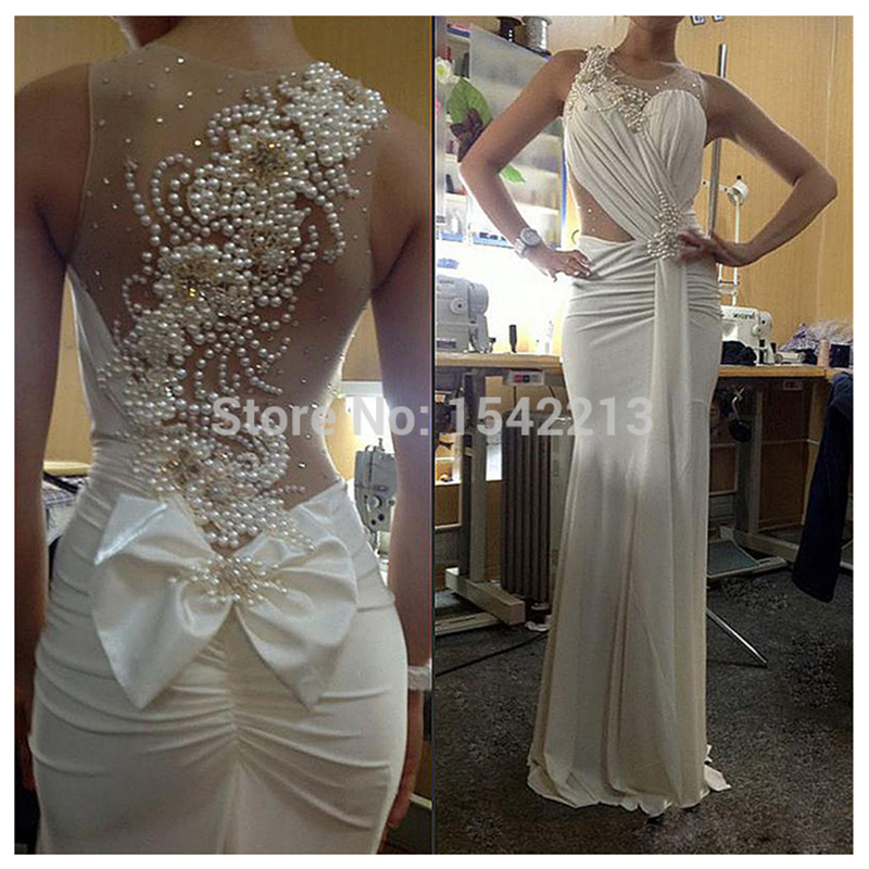 Attractive Pearls And Beaded Long Elegant White Mermaid Prom Dress See Through...