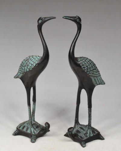 Pair Chinese Old Bronze Handwork Red-crowned Crane Statue / Ornament / FigurinePair Chinese Old Bronze Handwork Red-crowned Crane Statue / Ornament / Figurine
