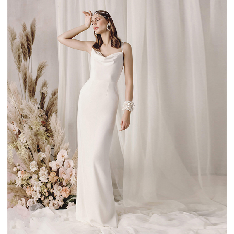 Verngo Sheath Wedding Dress Sexy Slit Summer Bride Dress Elegant Wedding Gowns Elegant Long Dress Vestidos De Novia 2019 in Wedding Dresses from Weddings Events