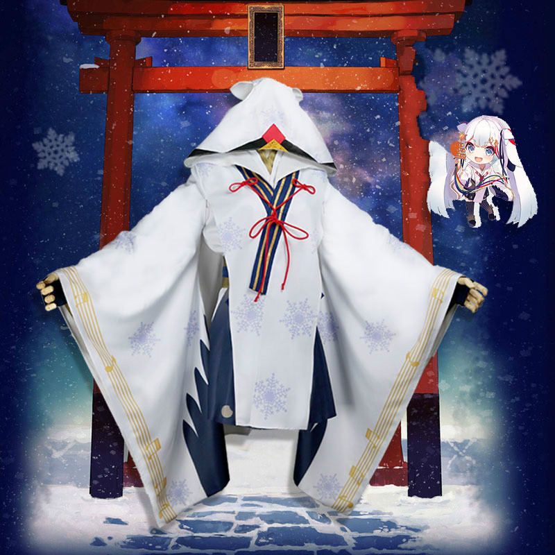 2018 Vocaloid Snow MIKU Yuki Witch Kagura ver. Kimono Japanese Anime Halloween Carnival Party Costume