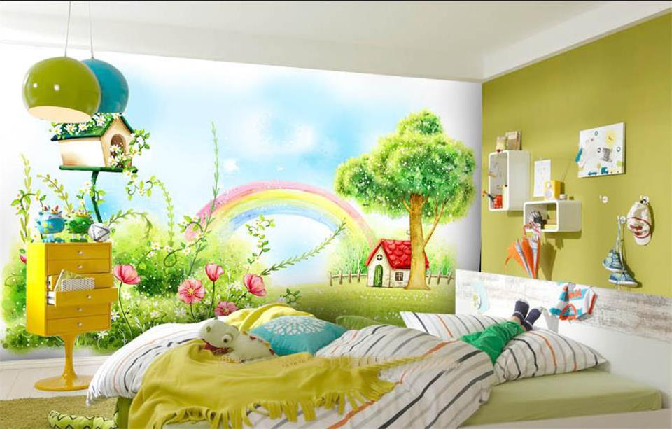 Custom 3d photo wallpaper mural kids room bed room rainbow red house forest painting sofa TV background wall non-woven sticker custom 3d photo wallpaper mural living room cartoon panda kids room picture painting sofa tv background non woven wall sticker