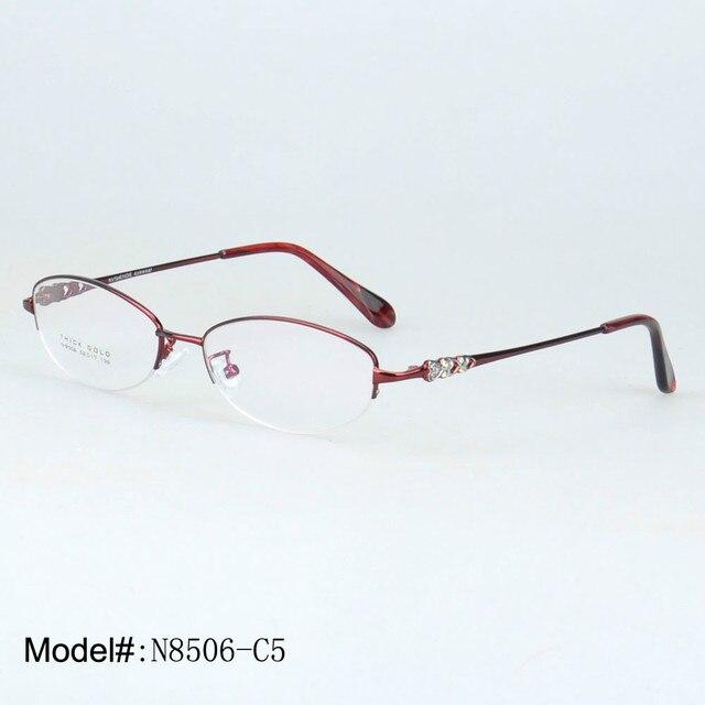 8506 женщины кристалл дизайн половина обод рецепт очки дальнозоркость очки очки оптических оправ близорукости очки