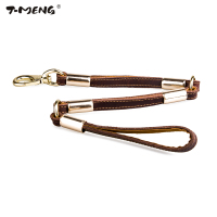 Genuine Leather Dog Leash Length 70cm For Small Medium Large Dogs Brown High Quality Durable Three Parts Walking Running Leads
