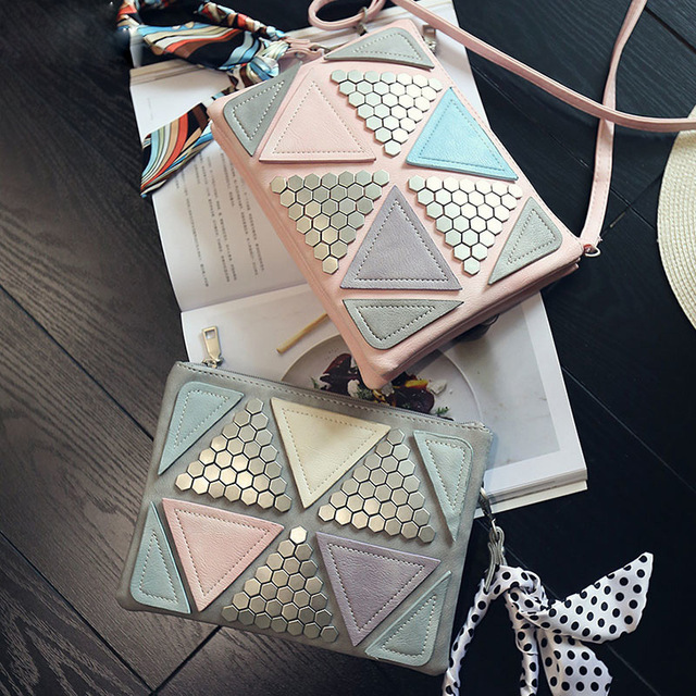 Candy Color Women Leather Handbags Patchwork Triangle Sequined Teenage Girls Wristlets Crossbody Bag Clutch With Ribbon playfair j h l immunology at a glance