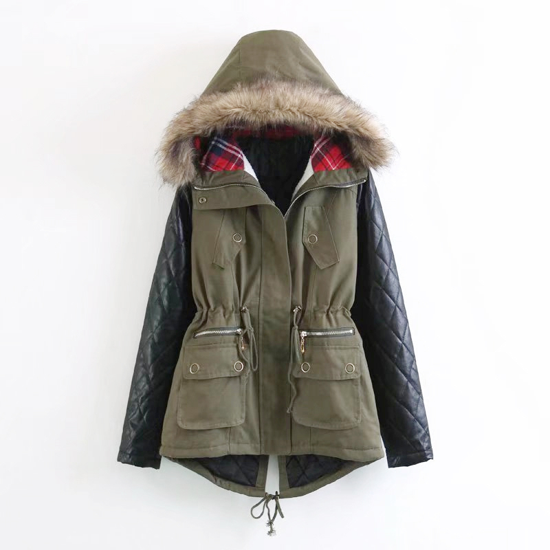 Winter Jacket Women Fashion Fur Collar Hooded Coat Warm Jacket Female Army Green Outerwear cotton padded Casual Down Cotton Coat kn 33 women s winter wear stylish thickened warm hooded down jacket coat army green l