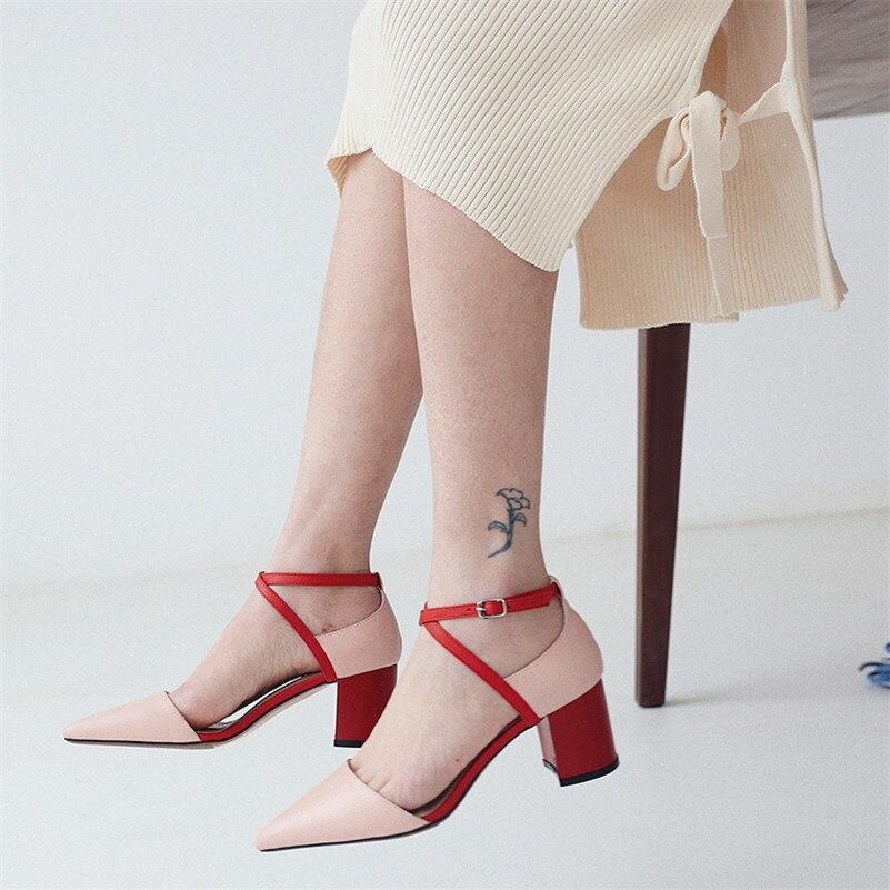 6dd313285485e0 Chaussures Parti Femme Sandales Boucle En Hauts Pour Femmes Mariage noir  Cuir D'été Fedonas Talons rose Sexy Cheville Véritable De Apricot Escarpins  ...