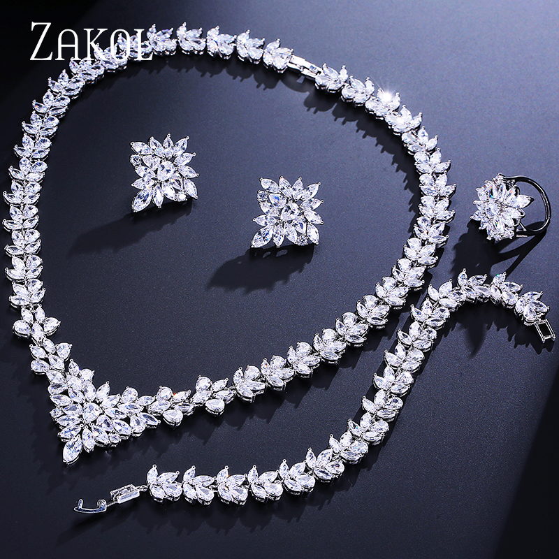 ZAKOL Women Jewelry Sets Cubic Zircon Leaf Necklace/ Earrings/ Ring/ Bracelet Bride Weddings Jewelry FSSP313 a suit of delicate rhinestone hollow out leaf necklace bracelet earrings and ring for women