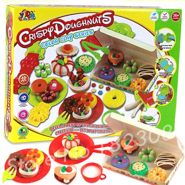 DIY Playdough Learning Educational Toys Fimo clay Plasticine And Tool Kit Non-toxic Mud Kid Gift polymer clay Crispy Doughnuts