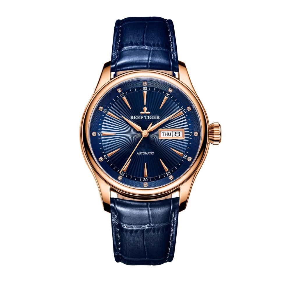 2017 New Reef Tiger/RT Classic Dress Brand Watches with Date Day Rose Gold Automatic Watch For Men RGA8232 вьетнамки reef day prints palm real teal