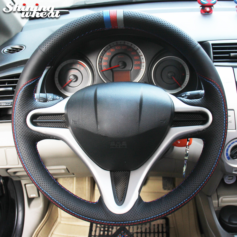 Shining wheat Black Leather Blue Red Gray Marker Car Steering Wheel Cover for Honda Fit 2009-2013 City Jazz diy hand stitched black red genuine leather car steering wheel cover for honda new fit city jazz 2014 2015 hrv hr v 2016