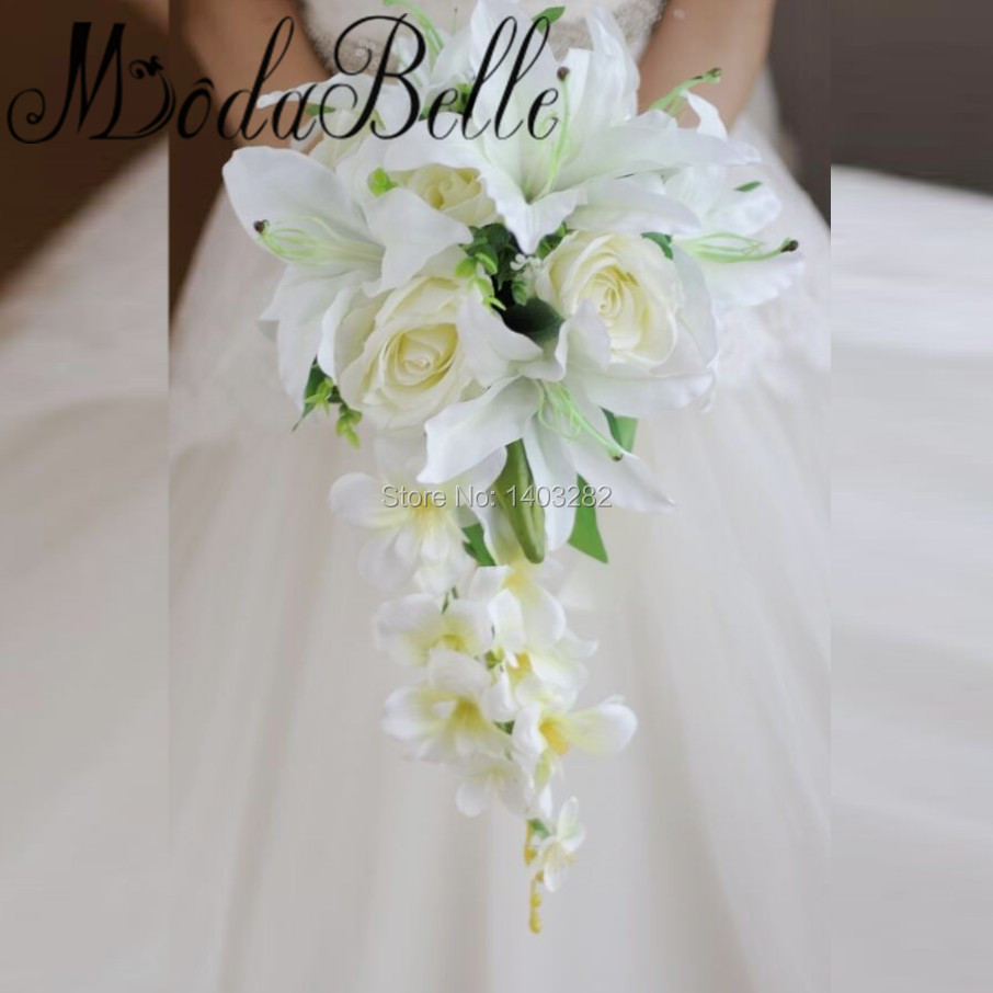 Online get cheap wedding bouquet for bride aliexpress 2017 new style waterfall lily bridal bouquets bruidsboeket artificial flowers wedding bouquets for brides brooch bramos dhlflorist Gallery