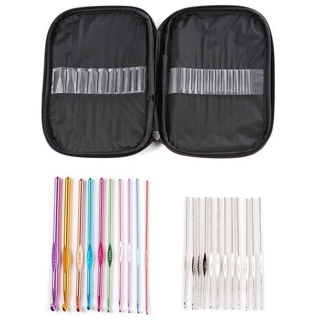 22 Pcs Sizes 2.0mm-6.0mm New Colorful TPR Soft Handle Aluminum Crochet Hooks Knitting Needles Set