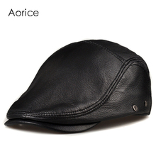 HL170-F genuine leather baseball cap hat  men's winter warm brand new cow skin leather newsboy caps hats black color цены