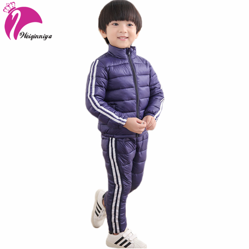 Kids Clothes Sets Winter Thick Down & Parkas Jackets+Pants 2pcs Suits For Boys Girls Cotton Warm Windbreaker Tracksuits Coat Hot цены онлайн
