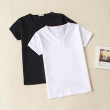 Летняя одежда для малышей, хлопковая футболка для маленьких девочек и мальчиков, топы с v-образным вырезом и короткими рукавами, футболки для детей, черная и белая рубашка для 0-10 лет