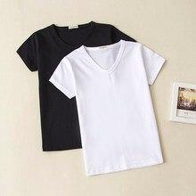 604b446c2 2018 Summer Baby Clothing Baby Girl Boy Cotton T Shirt V Neck Short Sleeve  Top Tees For Kids Blank Shirt Black White 0-10 years