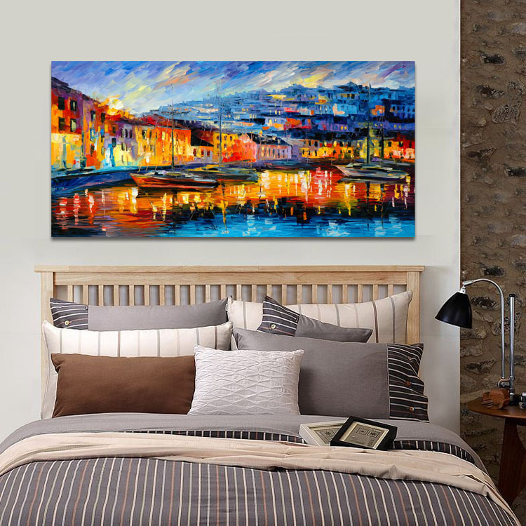 Merveilleux Harbor Boats Abstract Scenery Painting Dining Room Bedroom Wall Hanging  Paintings Canvas Landscape Mural No Frame In Painting U0026 Calligraphy From  Home ...