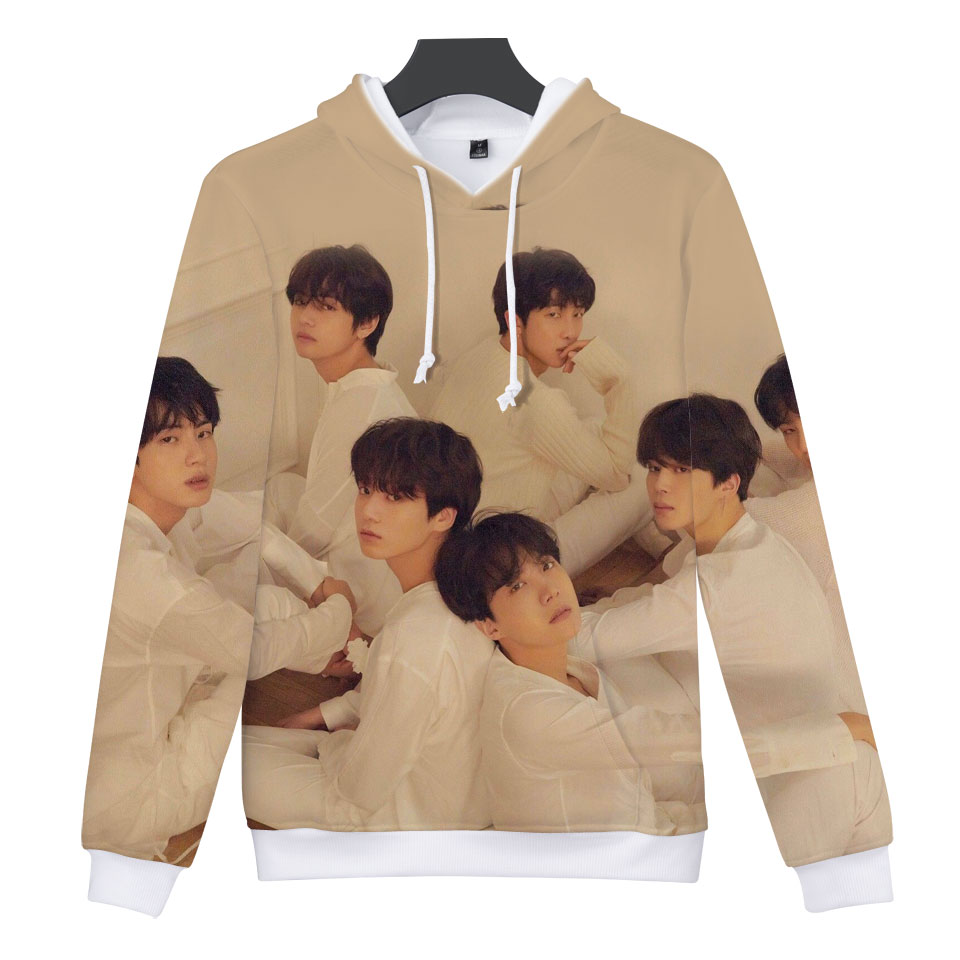 2018 New 3D BTS Kpop Love Yourself Harajuku Cap Sweatshirt Bangtan Boys Fashion Hoodies Women/Men Winter K-pop Clothes XXS-4XL