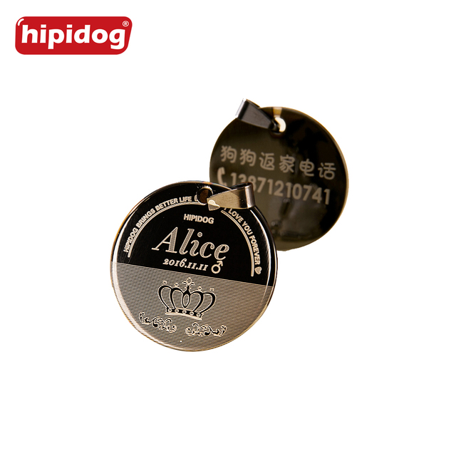 Hipidog Free Engraving Aluminum Pet Id Tags Dog Cat Name Tags Pet ID Collar Personalized Engraving Round Shape 5 Colors S L Size