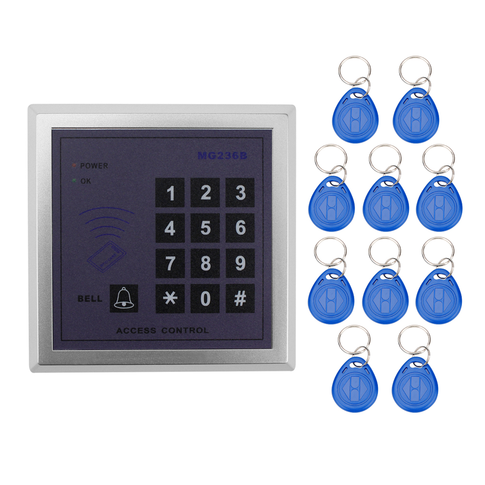 13.56MHz 500 users RFID IC MF card reader smart doors lock access control system with digital keypad+10 key fobs for apartment waterproof touch keypad card reader for rfid access control system card reader with wg26 for home security f1688a
